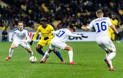 UEFA Europa League football match Dynamo Kyiv – Chelsea, March 14, 2019. Kyiv, Ukraine - March 14, 2019: Players in action during UEFA Europe League match royalty free stock image