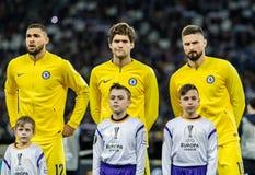 UEFA Europa League football match Dynamo Kyiv – Chelsea, March 14, 2019. Kyiv, Ukraine - March 14, 2019: Chelsea players before the start of UEFA Europa royalty free stock image