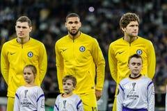 UEFA Europa League football match Dynamo Kyiv – Chelsea, March 14, 2019. Kyiv, Ukraine - March 14, 2019: Chelsea players before the start of UEFA Europa royalty free stock photos