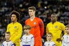 UEFA Europa League football match Dynamo Kyiv – Chelsea, March 14, 2019. Kyiv, Ukraine - March 14, 2019: Chelsea players before the start of UEFA Europa stock images