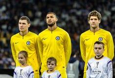 UEFA Europa League football match Dynamo Kyiv – Chelsea, March 14, 2019. Kyiv, Ukraine - March 14, 2019: Chelsea players before the start of UEFA Europa stock photography