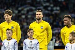 UEFA Europa League football match Dynamo Kyiv – Chelsea, March 14, 2019. Kyiv, Ukraine - March 14, 2019: Chelsea players before the start of UEFA Europa royalty free stock photography