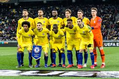UEFA Europa League football match Dynamo Kyiv – Chelsea, March 14, 2019. Kyiv, Ukraine - March 14, 2019: Chelsea players team photo before the start of royalty free stock images
