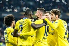 UEFA Europa League football match Dynamo Kyiv – Chelsea, March 14, 2019. Kyiv, Ukraine - March 14, 2019: Playersi of Chelsea celebtrates scoring a goal stock image