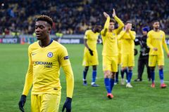 UEFA Europa League football match Dynamo Kyiv – Chelsea, March 14, 2019. Kyiv, Ukraine - March 14, 2019: Playersi of Chelsea celebtrates their victory in royalty free stock image