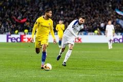 UEFA Europa League football match Dynamo Kyiv – Chelsea, March 14, 2019. Kyiv, Ukraine - March 14, 2019: Ruben Loftus-Cheek of Chelsea in action during royalty free stock photos