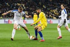UEFA Europa League football match Dynamo Kyiv – Chelsea, March 14, 2019. Kyiv, Ukraine - March 14, 2019: Ruben Loftus-Cheek of Chelsea fighting for the stock images