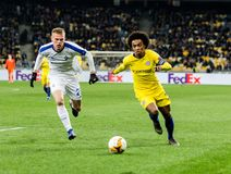 UEFA Europa League football match Dynamo Kyiv – Chelsea, March 14, 2019. Kyiv, Ukraine - March 14, 2019: Willian of Chelsea in action during UEFA Europa stock image