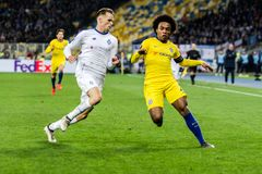 UEFA Europa League football match Dynamo Kyiv – Chelsea, March 14, 2019. Kyiv, Ukraine - March 14, 2019: Willian of Chelsea in action during UEFA Europa stock images