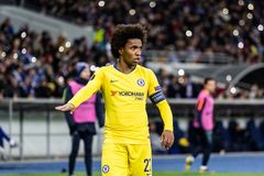 UEFA Europa League football match Dynamo Kyiv – Chelsea, March 14, 2019. Kyiv, Ukraine - March 14, 2019: Willian portrait of Chelsea in action during UEFA royalty free stock photos