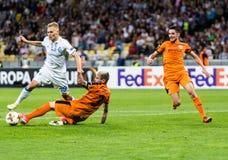 UEFA Europa League football match Dynamo Kyiv – Skenderbeu, Se. Kyiv, Ukraine - September 14, 2017: Vitaliy Buyalskiy of Dynamo Kyiv in action against Gledi Royalty Free Stock Photos