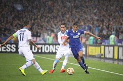 UEFA Europa League semifinal game Dnipro vs Napoli. KYIV, UKRAINE - MAY 14, 2015: Leo Matos of FC Dnipro (R) fights for a ball with Jose Callejon of SSC Napoli Stock Images