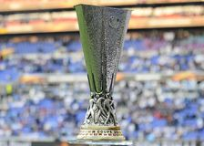 UEFA Europa League trophy. Detail of the UEL trophy pictured prior to the 2017/18 UEFA Europa League Final between Olympique de Marseille and Atletico de Madrid stock photo