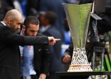 UEFA Europa League trophy. The UEL trophy pictured prior to to the 2017/18 UEFA Europa League Final between Olympique de Marseille and Atletico de Madrid held on royalty free stock photos