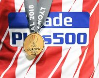 UEFA Europa League winners medal. Players pictured after the 2017/18 UEFA Europa League Final between Olympique de Marseille and Atletico de Madrid held on 16th Royalty Free Stock Photo