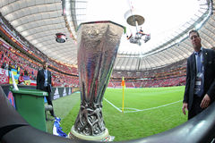 UEFA Europe Laegue Trophy Cup. WARSAW, POLAND - MAY 27, 2015: UEFA Europe Laegue Trophy Cup presents on public before the final game between Dnipro and Sevilla stock images
