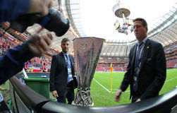 UEFA Europe Laegue Trophy Cup. WARSAW, POLAND - MAY 27, 2015: UEFA Europe Laegue Trophy Cup presents on public before the final game between Dnipro and Sevilla royalty free stock image