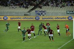 UEFA European Champions League Football. Panathinaikos Athens vs. Sparta Praha - European Champions League Qualifying Game.  August 4, 2009 at Olympic Stadium Royalty Free Stock Images