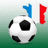 The 2016 UEFA European Championship.  France. Ball and the country's borders with flag colors. Royalty Free Stock Photo