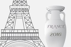 The 2016 UEFA European Championship.  France. Cup of Championship and the Eiffel Tower Royalty Free Stock Photos