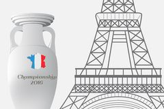 The 2016 UEFA European Championship.  France. Cup of Championship and the Eiffel Tower. The 2016 UEFA European Championship.  France. Template with cup of Stock Image