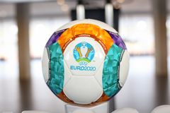 The 2020 UEFA European Football Championship 2020 logo and official ball. Bucharest, Romania - January 29, 2019: The 2020 UEFA European Football Championship royalty free stock image