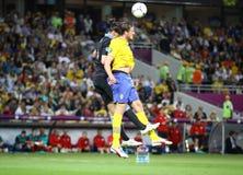 UEFA-EUROspiel 2012 Schweden gegen England Stockfotografie