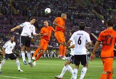 UEFA-EUROspiel 2012 die Niederlande gegen Deutschland Stockfotografie
