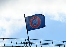 UEFA flag on top of Stamford Bridge Stadium. Football players pictured during the UEFA Champions League group C game between Chelsea and Qarabag on September 19 Royalty Free Stock Photos