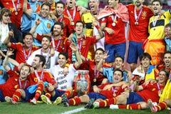 UEFA-het Definitieve spel Spanje van EURO 2012 versus Italië Royalty-vrije Stock Foto