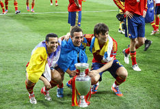 UEFA-het Definitieve spel Spanje van EURO 2012 versus Italië Stock Fotografie