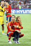 UEFA-het Definitieve spel Spanje van EURO 2012 versus Italië Stock Foto's
