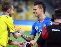 UEFA-het Kwalificerende spel de Oekraïne van EURO 2016 versus Slowakije Stock Afbeeldingen