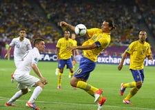 UEFA-het spel Zweden van EURO 2012 versus Frankrijk Stock Foto's
