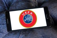 Uefa logo. Logo of uefa, Union of European Football Associations on samsung mobile phone Stock Images