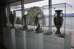 Uefa Trophy Room. Pictured in Nyon, Switzerland at the Uefa Center stock photos