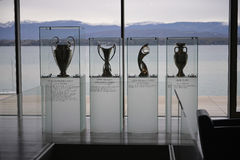 Uefa Trophy Room. Pictured in Nyon, Switzerland at the Uefa Center Stock Photo