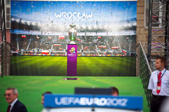 UEFA Trophy Tour. At Wroclaw old town. On 4-6th may trophy will be in Wroclaw Stock Photo