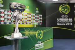 UEFA U19 CHAMPIONSHIP. KATERINI, GREECE, JUNE 9,2015: The Uefa Under19 Championship Cup/Trophy Stock Image