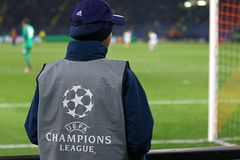 UEFA verdedigt Liga: Shakhtar Donetsk v Rome Royalty-vrije Stock Foto