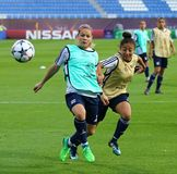 UEFA Women's Champions League Final 2018: Olympique Lyonnais t. KYIV, UKRAINE - MAY 23, 2018: Eugenie Le Sommer L and Selma Bacha of Olympique Lyonnais in Stock Photo
