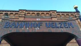 UELZEN, DUITSLAND De post bij het station Uelzen, Duitsland Stock Afbeeldingen