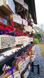 Ueno Ema Shrine. A nice shot of a bunch of Ema (Wishing Plaques) hanging at a shrine in Ueno Royalty Free Stock Photography