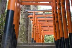UENO, GIAPPONE - 18 FEBBRAIO 2016: portoni rossi di torii nel parco di Ueno, Immagini Stock Libere da Diritti
