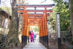 UENO, JAPAN - FEBRUARI 19, 2016: De tunnelpoort van Toriideuren aan Goj Stock Afbeelding