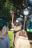 UENO, JAPAN - FEBRUARY 19, 2016 : magic show at Ueno park. The show open with a hat Royalty Free Stock Photography