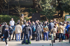 UENO, JAPAN - FEBRUARY 19, 2016 : magic show at Ueno park. The show open with a hat Royalty Free Stock Photo
