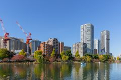Ueno Park lake park in tokyo cityscape. Summer day blue sky Stock Images