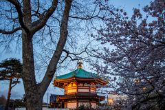 Ueno Sakura Matsuri Cherry Blossom Festival en Ueno ParkUeno Koen, Taito, Tokio, Japón en abril 7,2017: Templo de Bentendo con el Fotografía de archivo