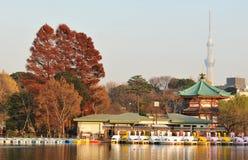 Ueno, Tokyo. Tokyo, Japan - 28 December, 2011: Benten-do shrine on Shinobazu pond in Ueno with attractions at sunset Royalty Free Stock Photo
